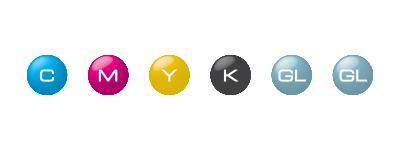Configuration avec les encres ECO-UV CMYK, Vernis et Vernis