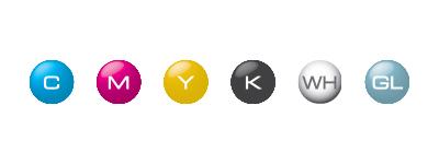 Configuration avec les encres ECO-UV CMYK, Blanc et Vernis